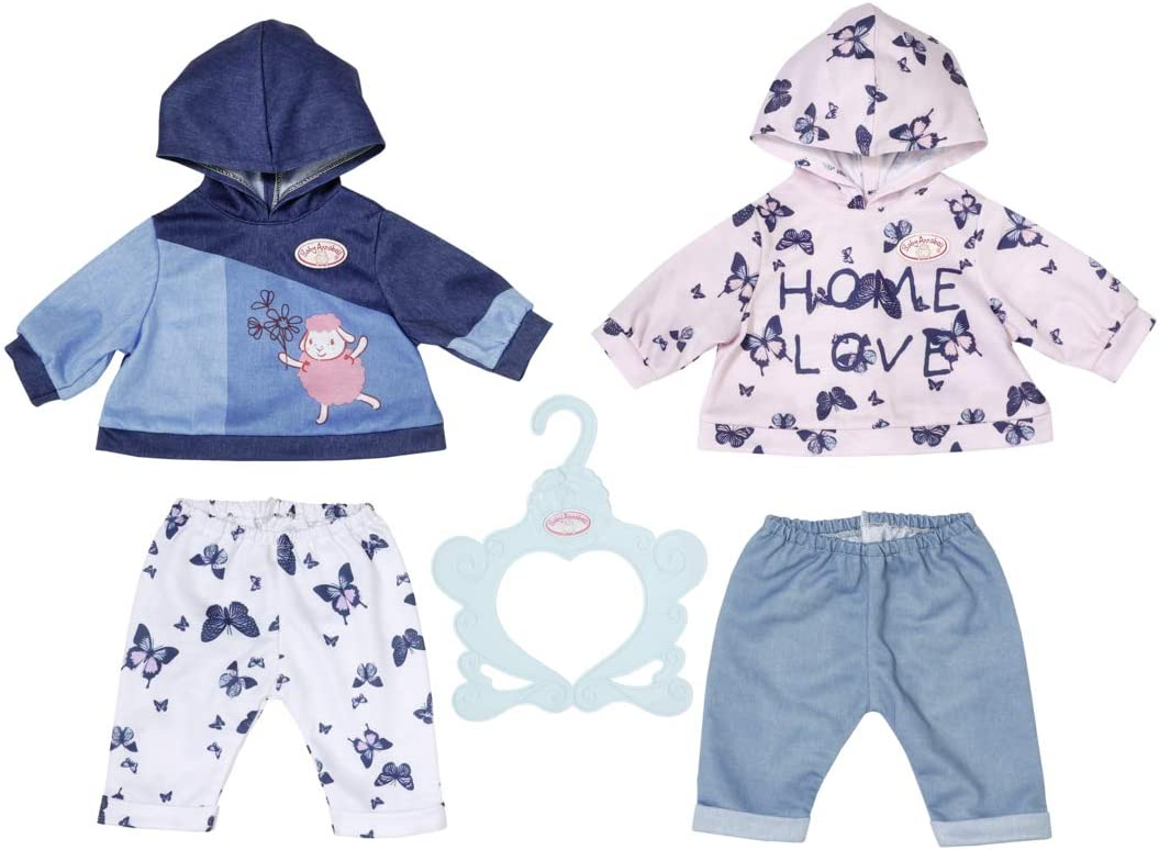 704202 Due Modelli di Pantaloni e Gruccia Baby Annabell Set 2 Completini 43 cm-per Bambini dai 3 Anni in su-Facile da Usare per Mani Piccole-Include Felpa