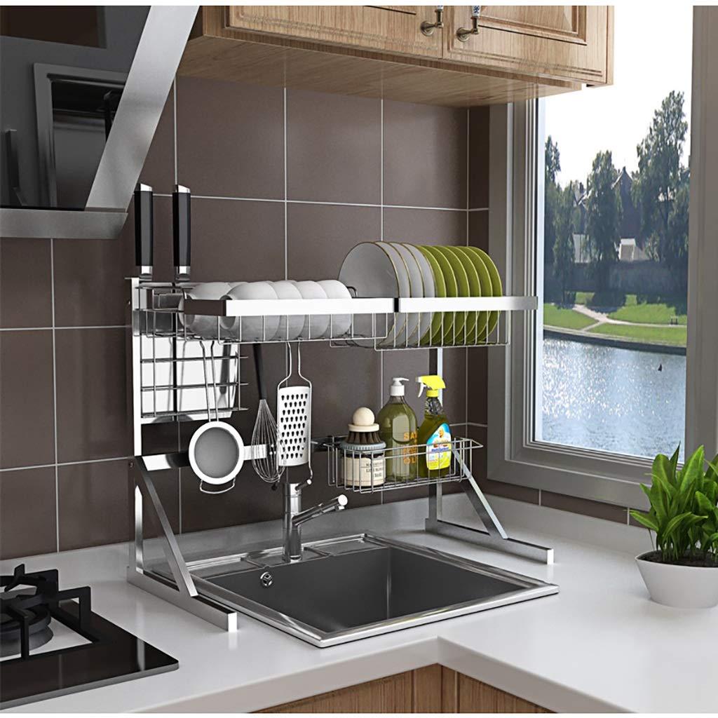 50.3cm. ZJF WDJ Scaffale di Scarico Cremagliera del Piatto del Lavandino dello Scaffale della Cucina dellAcciaio Inossidabile 201 64 31.8