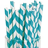 Turquoise Paper Striped Straws (Pack of 24)
