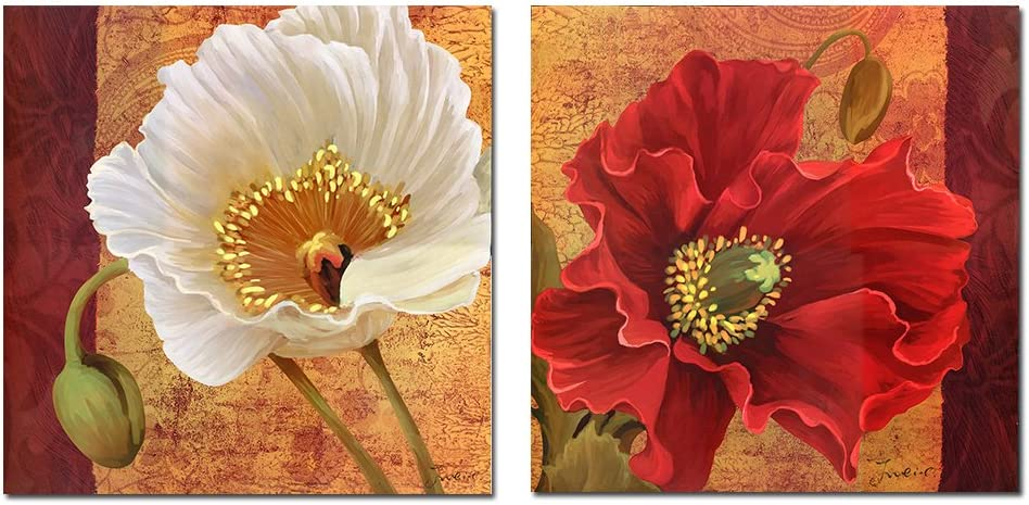 Purple Verbena Art 2 Pieces Retro Poppy Flower Pictures Prints on Canvas Walls Artwork, Modern Giclee Wall Painting for Bedroom Decor, Stretched and Framed, Ready to Hang,12x12 Inch