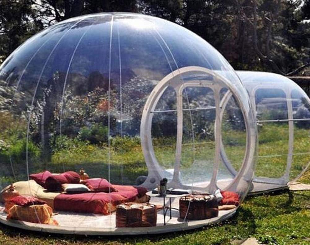 Qnlly Solo túnel Inflable Transparente Burbuja Carpa Casa, Familia al Aire Libre Tiendas de campaña, en Forma de cúpula, Clear Show Room,5M