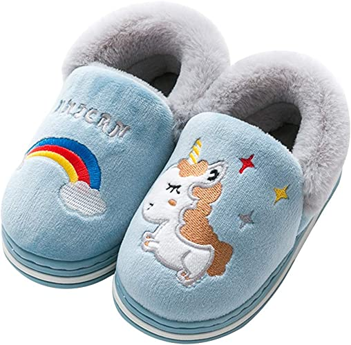 Kids Cute Fuzzy Fur Lined Warm Toddler Boys Girls Winter Indoor Home Slippers US