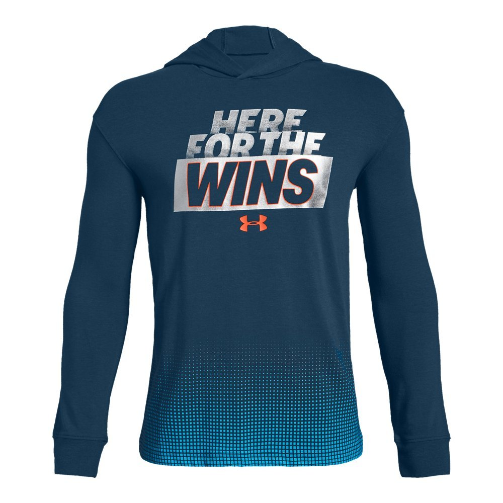 Under Armour Boys Wins graphic ls Hoodie, Techno Teal (489)/Magma Orange, Youth Small