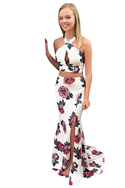 6259a0bfd32 ScelleBridal Halter Flower Printed Two Piece Slit Side Mermaid Prom Dresses  at Amazon Women s Clothing store
