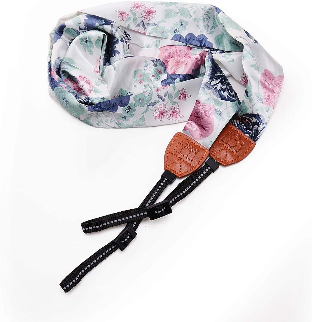 White and Gray Camera Strap Scarf Vintage Floral Fabric DSLR Universal Neck Shoulder Belt For Women by Deanoy
