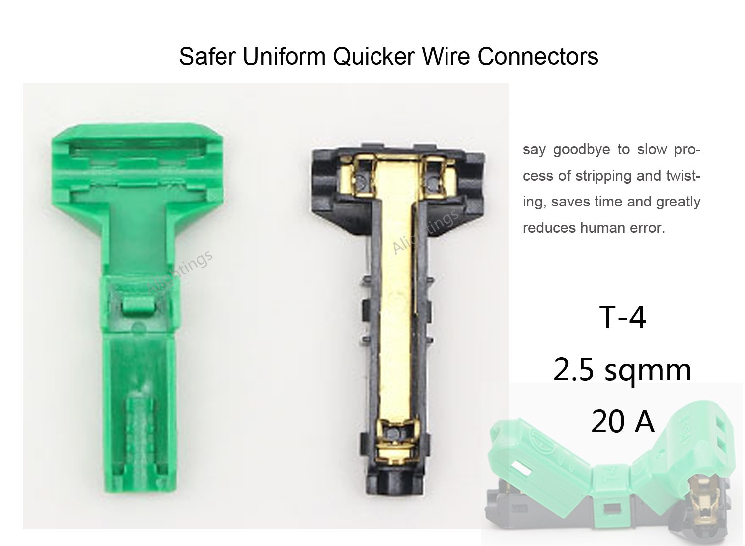 Wire Connectors T Tap Electrical Quick Splice 14awg Wiring Harness Branched Extension Cable For Mid Span Branching In Wires Connection Pack Of 10 Ac Jwt