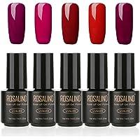Juego de 5 esmaltes de uñas de gel de color rojo serie Soak Off, barniz de manicura y pedicura de salón, con luz LED UV, 7 ml (2601-2605)
