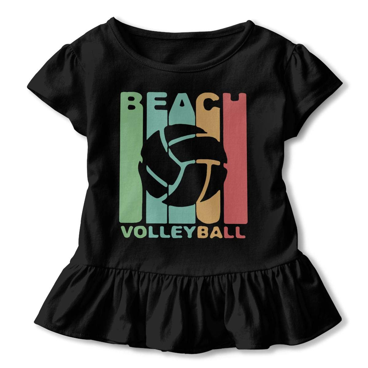 Vintage Beach Volleyball Toddler//Infant Girls Short Sleeve Ruffles Shirt Tee for 2-6 Toddlers