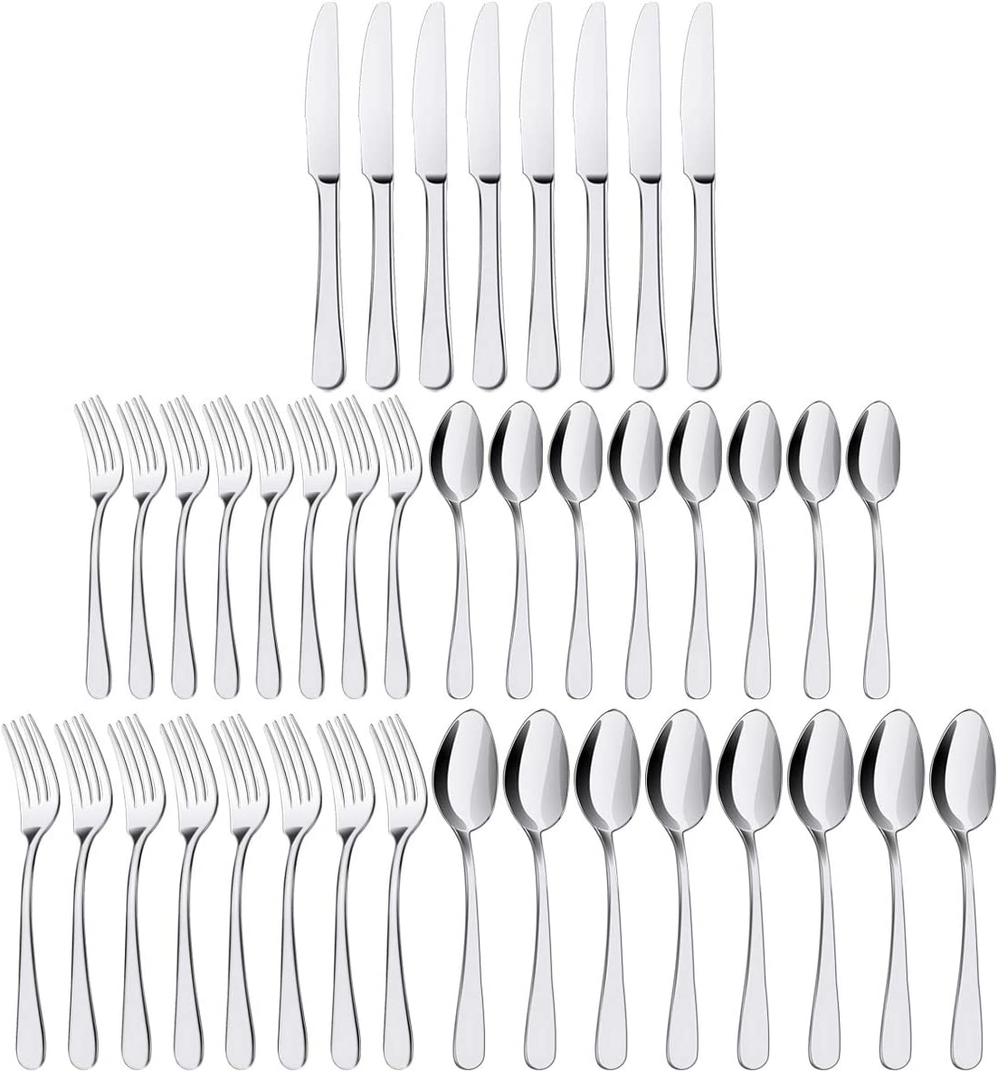 Silverware Set, ENLOY 40 Pieces Stainless Steel Flatware Set, Kitchen Utensil Set Cutlery Tableware for Home and Restaurant, Service for 8, Dinner Knives/Spoons/Forks, Dishwasher Safe