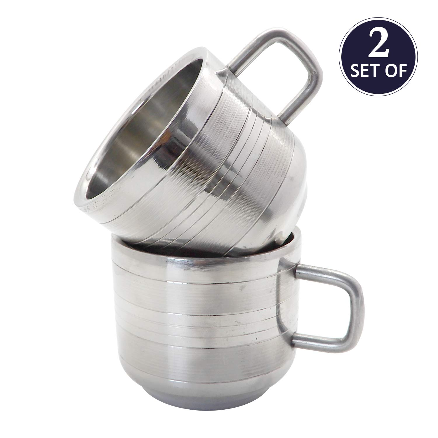 Reusable /& Stackable Mirror Finish /& Dishwasher Safe WhopperIndia Coffee Cup Espresso Cup Mug Set of 4 6 Ounce Double Wall Stainless Steel Tea Cups