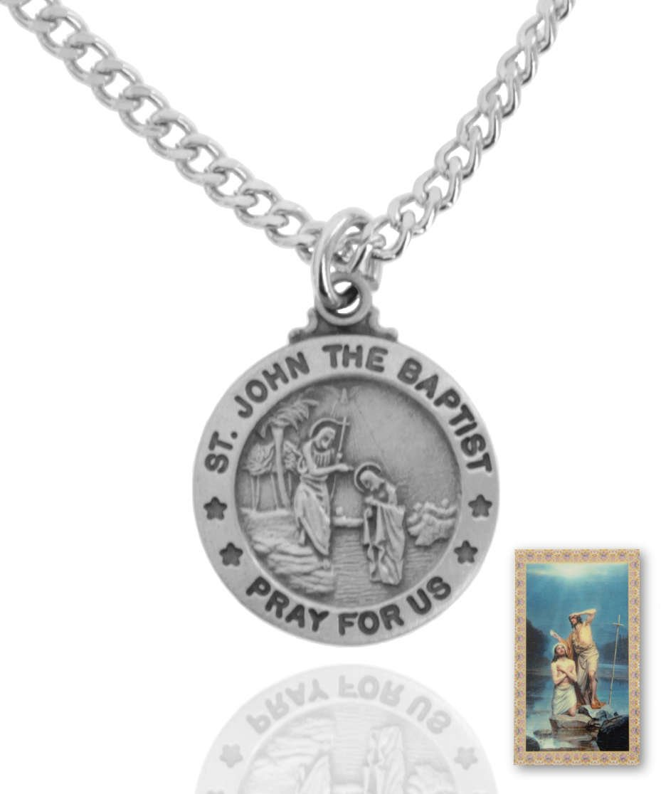 10 x Pewter Saint John the Baptist Round Medal + 24 Inch Endless Chain + Laminated Prayer Card by Sterling Faith