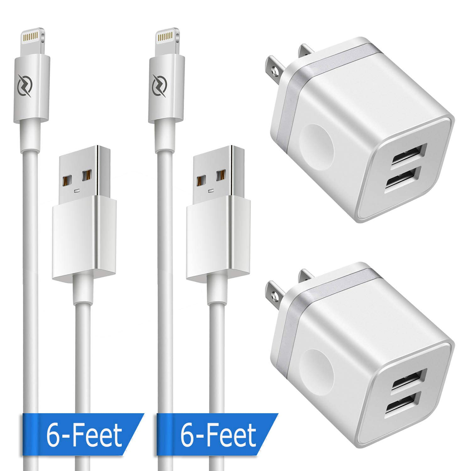 Phone Charger 6ft with Wall Plug (4in1 Pack), DENWAN 6-Foot Long Charging Cable and 2.1A/5V Dual Port USB Wall Block Cube Compatible with Phone XS/XR/X 8/7/6/Plus SE/5S/5C (UL Certified) by DENWAN