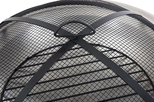 Sunjoy 26'' Verde Stainless Steel Fire Pit - Pewter finish Dome fire screen with high heat resistant paint Screen lift tool and wood grate included - patio, outdoor-decor, fire-pits-outdoor-fireplaces - 61iJnT5k5ZL -