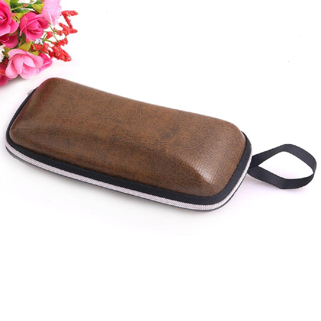 Yunso Portable Leather Zipper Eye Glasses Sunglasses Clam Shell Hard Case Protector