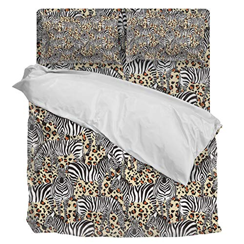 (Bedding Duvet Cover Set Ultra Soft 4 Piece(1 Duvet Cover+1 Flat Sheet + 2 Pillowcases) Leopard Print Zebra Twill Plush Comforter Cover Set Full)