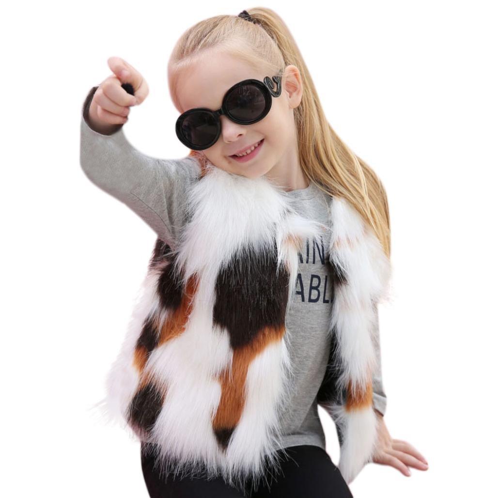 Koly Gilet manteau en fausse fourrure pour enfant Bébé fille, Veste hiver automne Vêtements de survêtement chauds épais Waistcoat Outwear Cindy