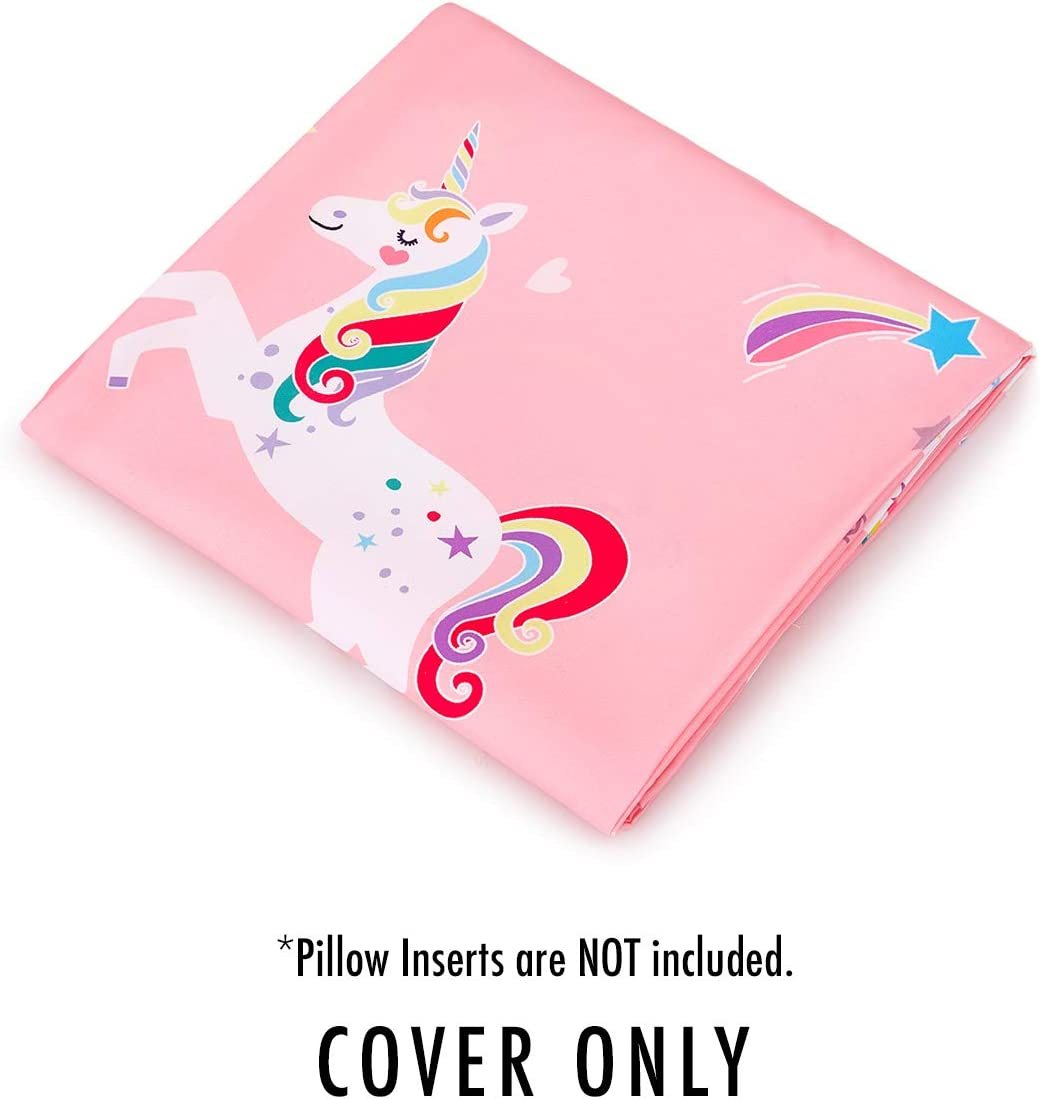 Requires 5 King Size Pillows Kids Floor Pillow Case Wake In Cloud Cover Only Microfiber Lounger Toddler Floor Pillow Cover Pillows Not Included Pink with White Unicorns
