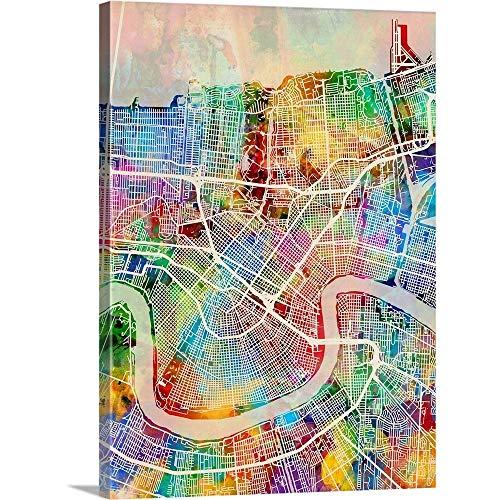 New Orleans Street Map Canvas Wall Art Print, 18 x24 x1.25