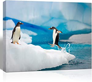 The Melody Art giclee Penguin Painting Canvas Wall Art Bathroom Accessories Pictures for Bedroom Living Room Home Decoration 12x16 in 1 pcs Stretched and Framed