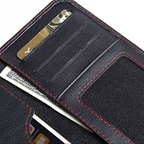 Apple iPhone 7 Case, Leather Case, Pouch, Holster, Wallet Case, Protective Case, Phone Case - Leather Card Wallet (Black/Red Stitch) by Pdair