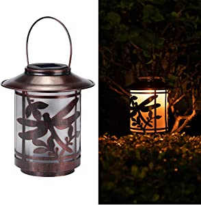 Solar Lantern Lights Outdoor, Dragonfly Waterproof Metal Hanging Solar Lights Decorative for Garden, Patio, Courtyard and Tabletop (Dragonfly)