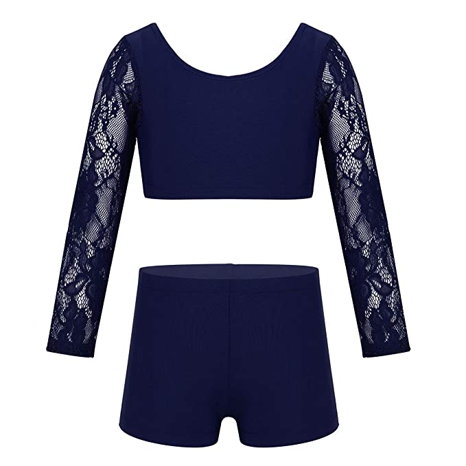 YiZYiF Kids Girls 2 Piece Active Leggings and Crop Tops Set Gymnastics Workout Dance Tracksuit Outfits