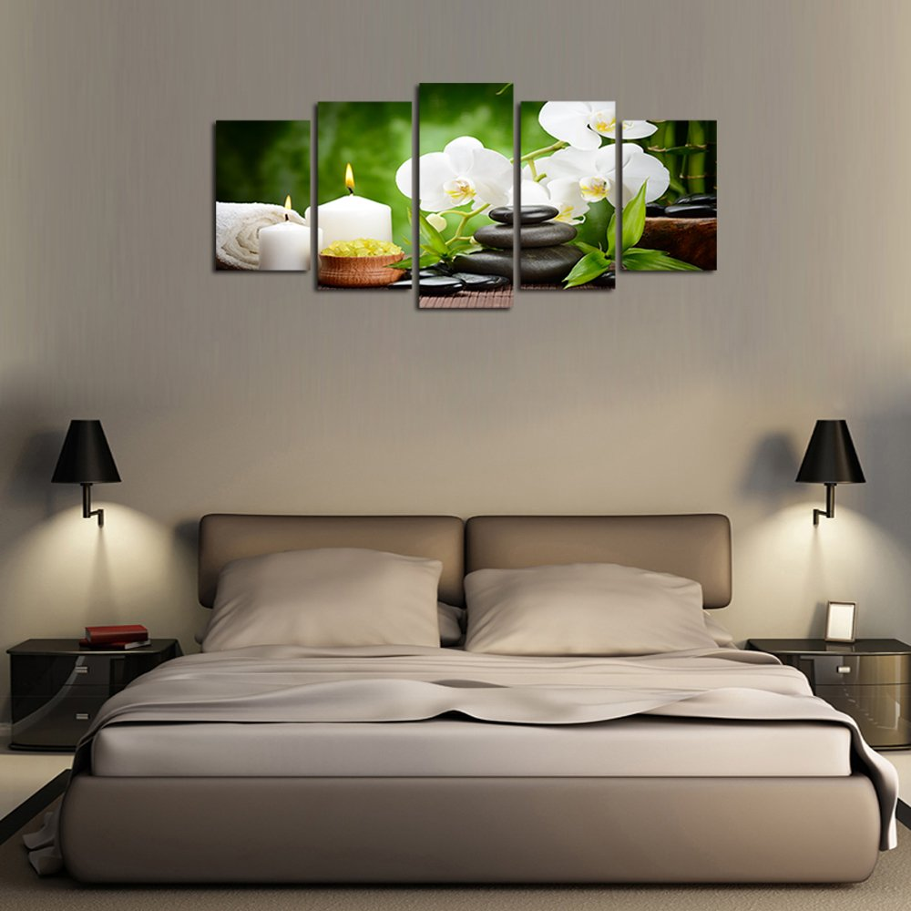 Ardemy Canvas Wall Art Multi Panels 5/Set White Orchid Zen Painting Prints Framed Picture for Living Room Bedroom Spa Salon Dinning Room Bathroom Home Decoration by Ardemy (Image #2)