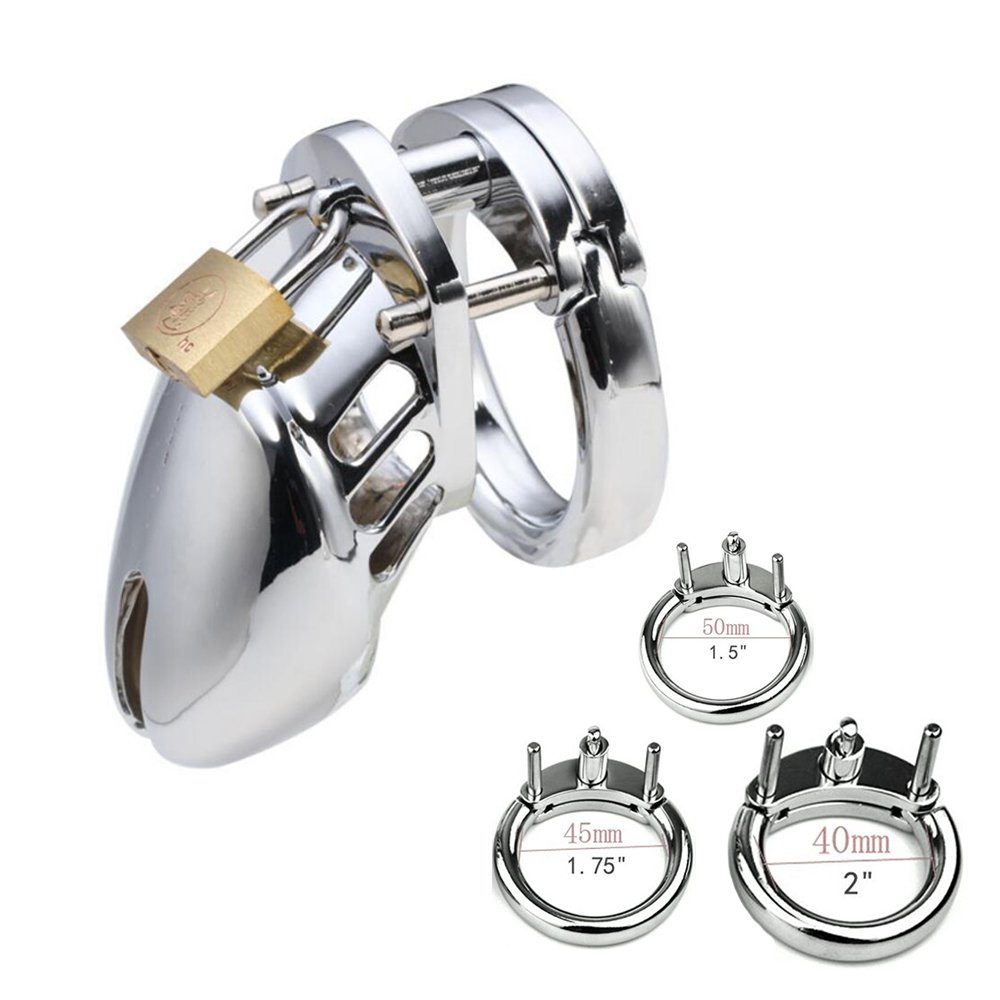 ALL 3 RINGS ARE INCLUDED! 1.5'' / 1.75'' / 2'' Chromed Plated Metal Cock Cages Toys (Silver)