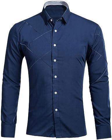 KINDOYO Hombre Camisas Moda Manga Larga Men Fashion Slim Fit Casual Long SleevesShirts(Blanco, Negro, Rojo, Rosa roja, Azul, Vino Tinto, Armada, Rosado): Amazon.es: Ropa y accesorios