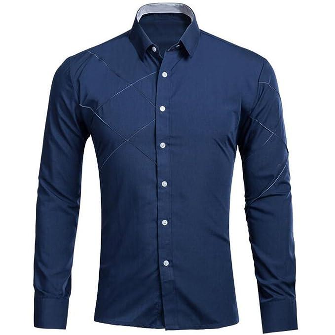 122123e2acd64 KINDOYO Hombre Camisas Moda Manga Larga Men Fashion Slim Fit Casual Long  SleevesShirts(Blanco