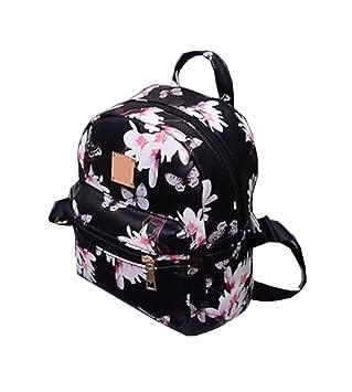 Women Girls Mini Backpack Causal Floral Printing Leather Bag (Black) a5cc76a85b