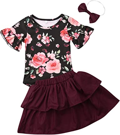 2Pcs//Set Toddler Infant Baby Girl Ruffle Sleeve Romper Bodysuit+Floral Suspender Skirt Outfit