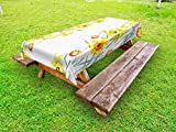 Ambesonne Daffodil Outdoor Tablecloth, Spring Flowers Composition Meditation for Blossoming Results Natural Print, Decorative Washable Picnic Table Cloth, 58 X 84 Inches, Yellow White Red