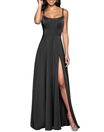 2c7f0ee0659f XSWPL Chiffon Long Spaghetti Straps Prom Dresses 2019 Beach Wedding  Bridesmaid Dress with Side Split Black
