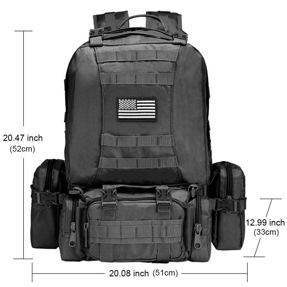 CVLIFE Tactical Military Backpack 60L Built-up Army Rucksacks Outdoor 3 Day Assault Pack Combat Molle Backpack for Hunting Hiking Fishing with Flag Patch Black by CVLIFE (Image #2)