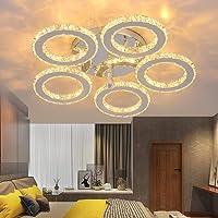 Lámpara LED para techo, moderna araña de cristal y acero inoxidable, para dormitorio,…