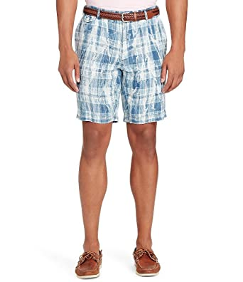 Polo Ralph Lauren Mens Linen Flat Front Sun Bleached Plaid Classic Fit  Shorts, Blue (