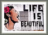 Alonline Art - Life Is Beautiful Banksy Silver FRAMED POSTER (Print on 100% Cotton CANVAS on foam board) - READY TO HANG | 34''x24'' | Frame Framed Decor Framed Wall Decor Framed Wall Art Giclee