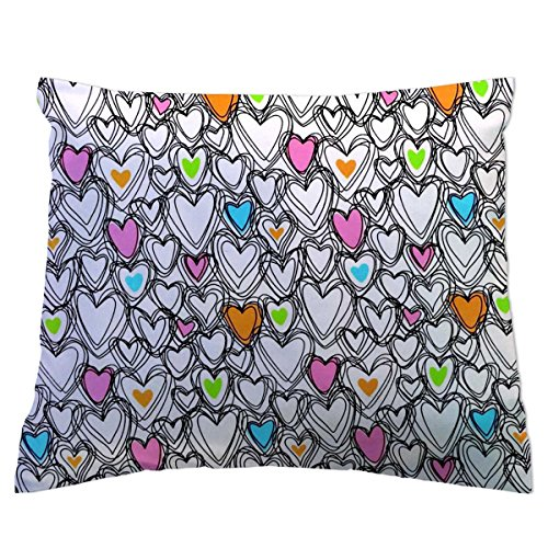 SheetWorld Twin Pillow Case - Scribbled Hearts Jersey Knit - Made In USA (Hearts Scribbled)
