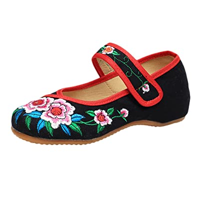 Zhhlaixing Pretty Womens Traditional Embroidered Shoes Casual Chinese Style Cloth Shoes mnyi5Zty