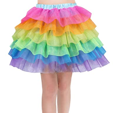 YAANCUN - Falda de Tul para niña con diseño de arcoíris como en la ...
