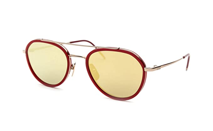 54ea210730c5 Amazon.com  THOM BROWNE TB-801-D-GLD-RED-51-Z Sunglasses 12K Gold ...