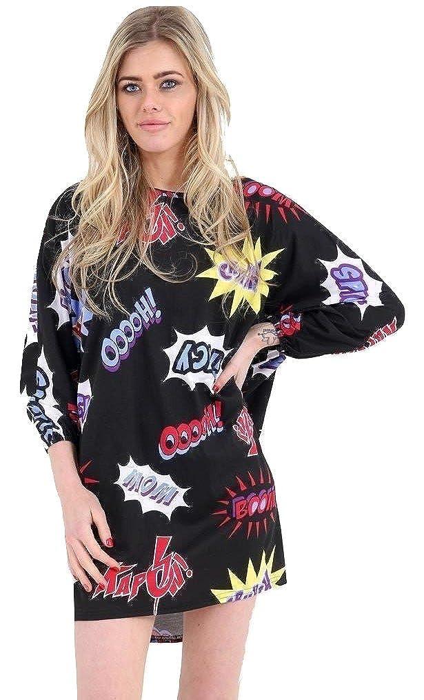 Momo/&Ayat Fashions Ladies Baggy Oversized Batwing Tunic Printed Top US Size 4-22