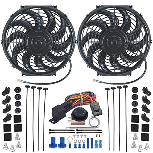 - American Volt Dual Reversible 12V Electric Engine Radiator Cooling Fan & Adjustable Thermostat Switch Kit (12