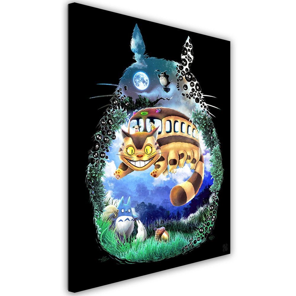Feeby. Wandbild - 1 Teilig - 50x70 cm, Leinwand Bild Leinwandbilder Bilder Wandbilder Kunstdruck, Barrett Biggers - Anime Fantasy Schwarz