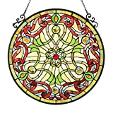 Chloe Lighting Rosabella Tiffany-Glass Victorian Window Panel, 23.5″ For Sale