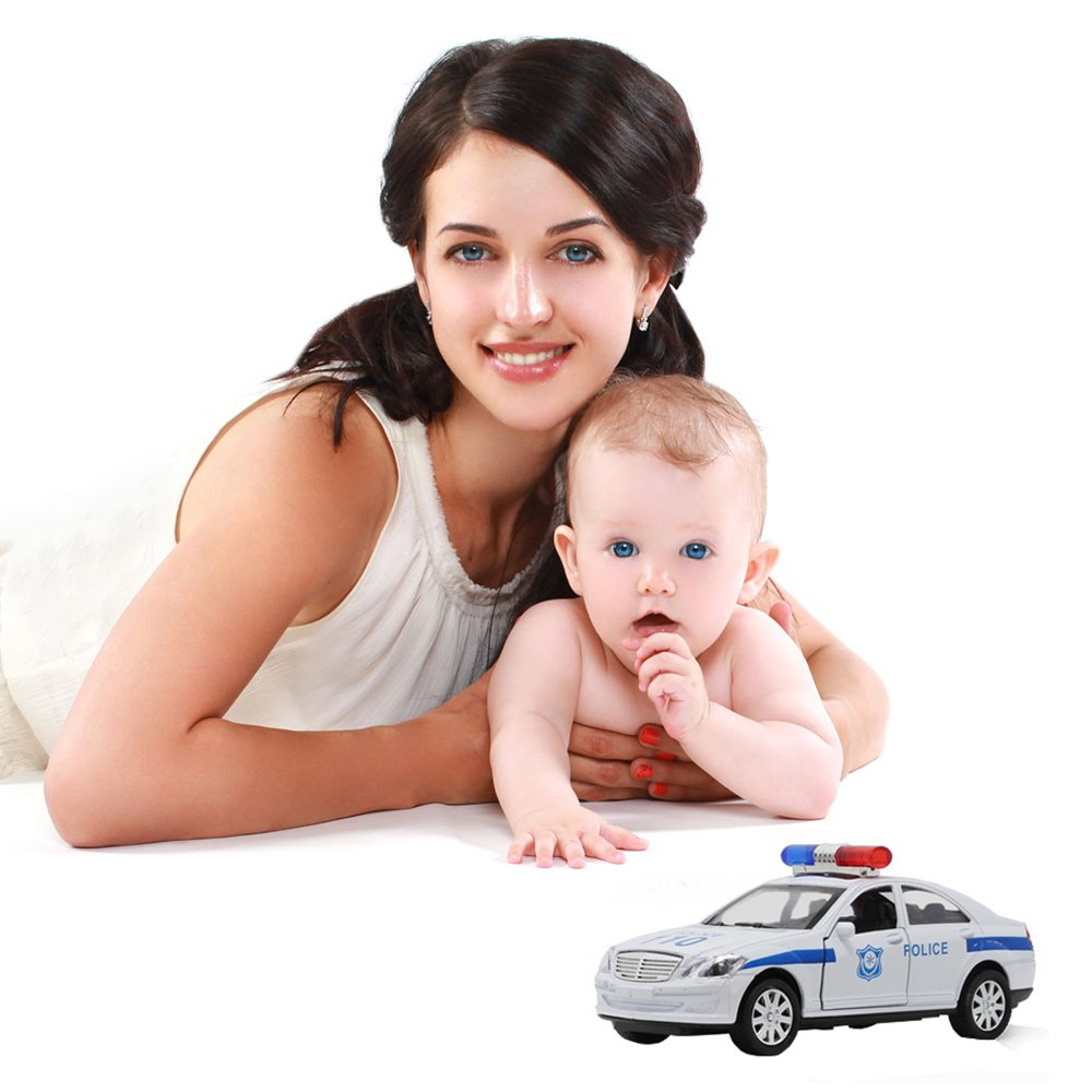 1?32 Police Car 110 Alloy Simulation Car Light Music Toy for Baby Boys Playing Gift