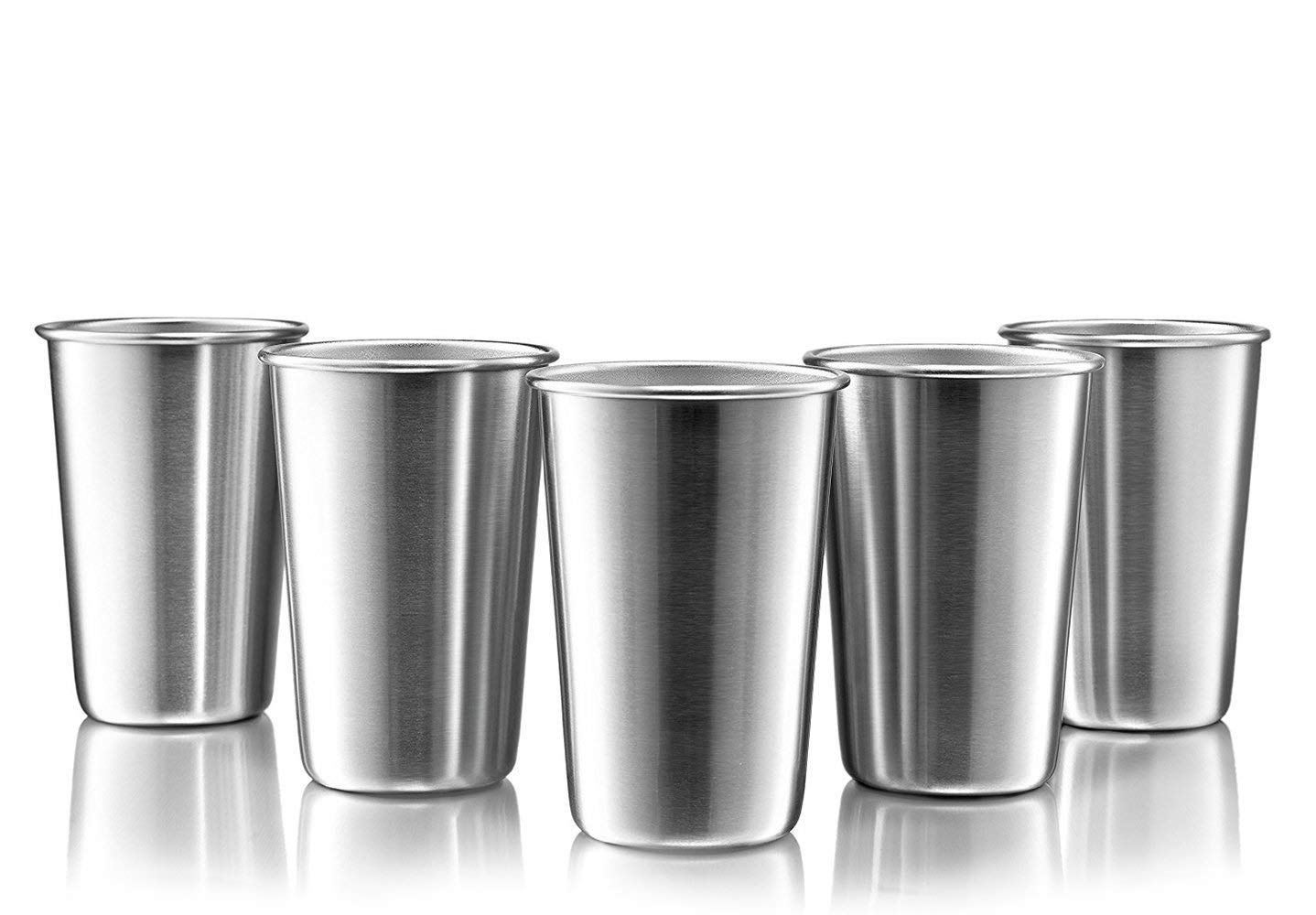 Modern Innovations Stainless Steel Pint Cups, Set of 5, 16 Oz Metal Cups For Drinking Made of Food Grade Quality, BPA Free, Shatterproof SS Tumblers Perfect for Camping, Picnics, Indoor & Outdoor Use MI 1060