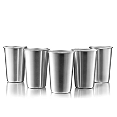 Modern Innovations 16 Ounce Pint Cups Set of 5 Drinking Glasses Shatterproof Tumblers Made of Food Grade Quality, BPA Free Stainless Steel - Perfect for Camping, Picnics, Indoor & Outdoor Use