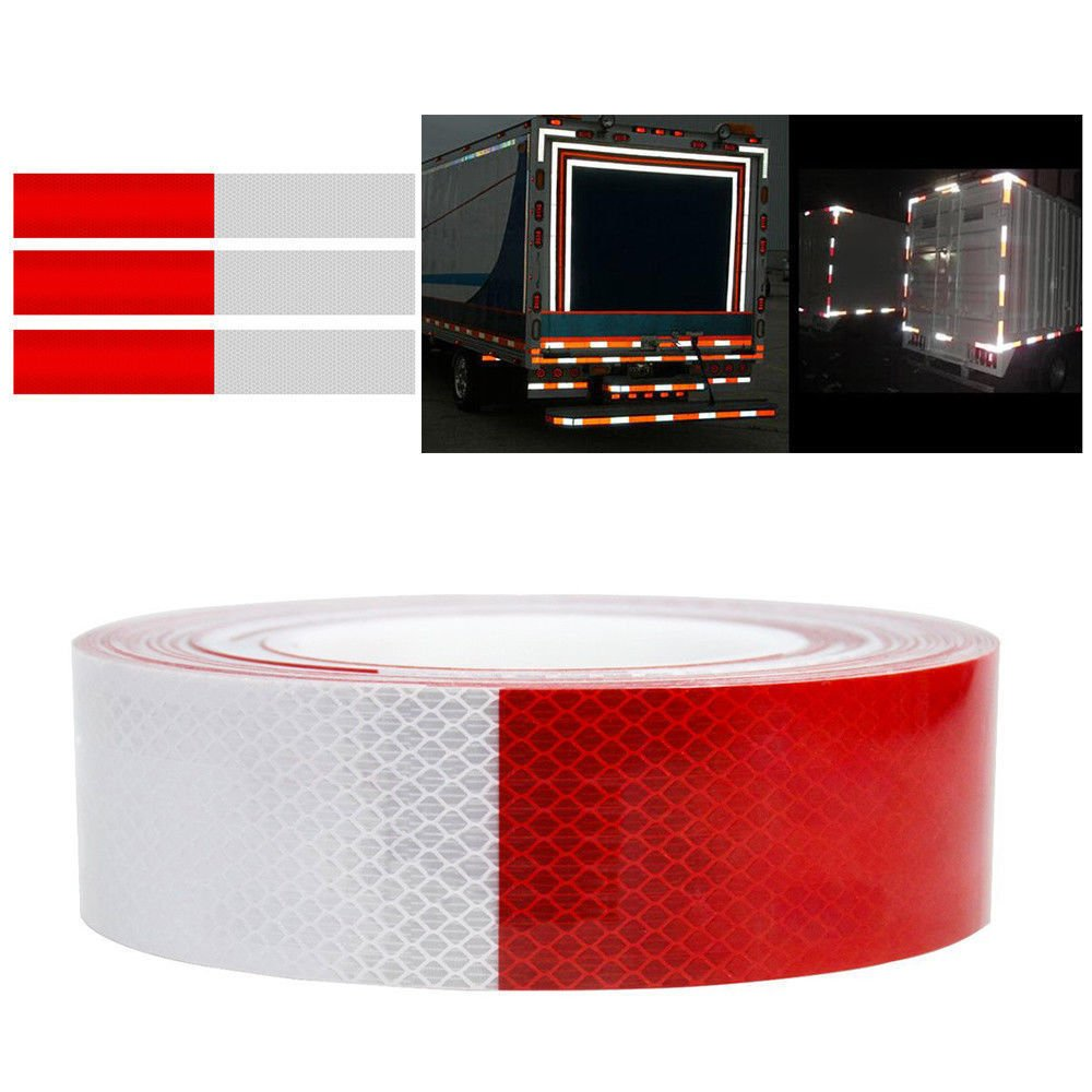 Wesy Micro Prismatic Sheeting Reflective Tape,2'' x 27.3 yd,Car Truck Trailer RV Camper Boat Semi,Safety Warning Conspicuity Tape (Red White)
